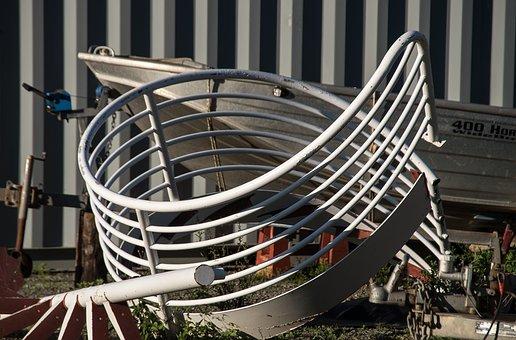 Metal, Steel, Scrap, Spiral, Railings, Bent, Steps