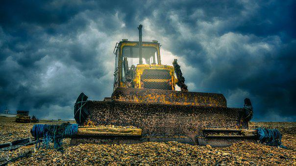 Digger, Heavy Machine, Bulldozer, Hdr