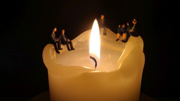 Miniature Figures, Personal, Candle, Light, Model, Dark