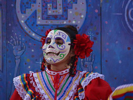 Dancer, Mask, Day Of The Dead, Celebration, Costume