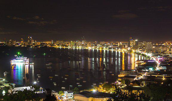 Pattaya, Night, Travel, Cityscape, Beach, Light, City