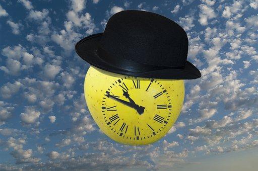 Hat, Apple, Clock, Sky