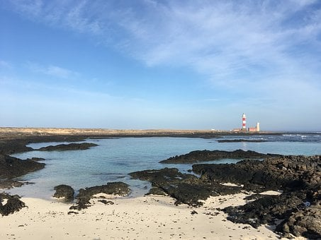 Lighthouse, Toston, Cotillo, Fuerteventura, Beach, Sand