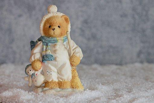 Winter, Bear, Bears, Figure, Decoration, Snow Man, Toys
