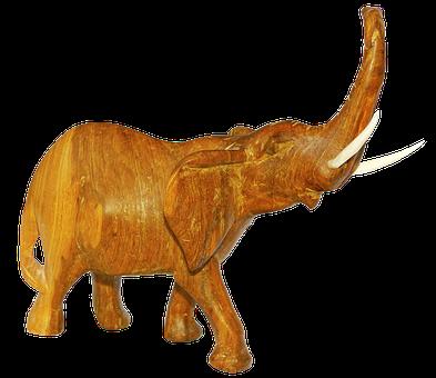 Elephant, Carved, Holzfigur, Wood, Figure, Hand Labor