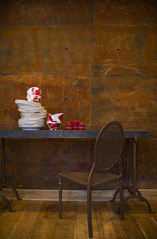 Table, Chair, Furniture, Plate, Brown, Decoration