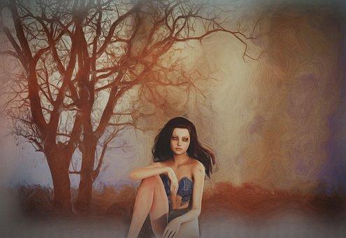 Fantasy, Girl, Woman, Trees, Creative, Painting