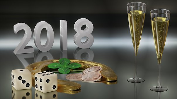 New Year's Eve, Champagne, Lucky Charm, Glasses, 2018