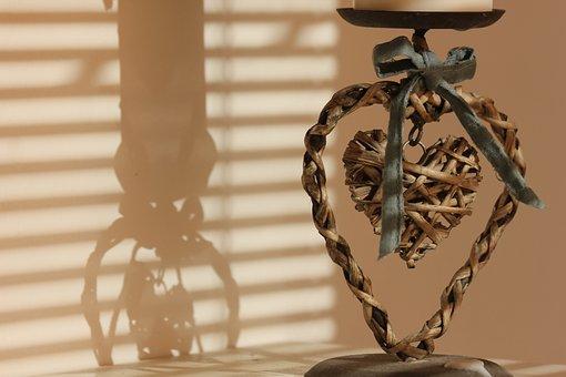 Candlestick, Shadow, Heart, Sweetheart, Wicker, Bows