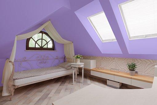 Violet, Room, Bed, Interior, Home, Apartment, Modern