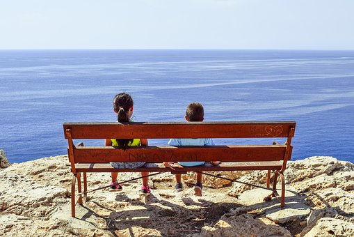 Gazing At Sea, Kids, Children, Bench, Sea, Horizon