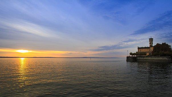 Sunset, Lake Constance, Langenargen, Mirroring