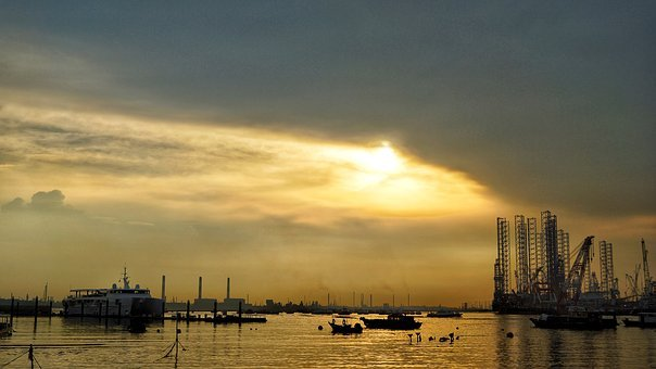 Sunset, Beach, Sea, Horizon, Silhouette, Landscape
