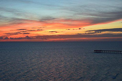 Sunset Over The Pier, Seascape, Landscape, Nature, Sand