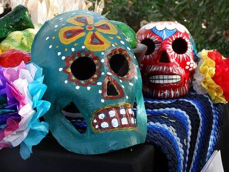 Skulls, Mexican, Muertos, Celebration, Decoration