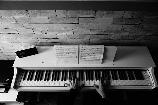 Piano, Black And White, Playing, Music, Instrument