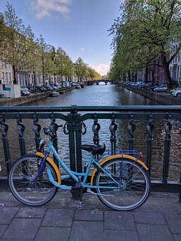 Holland, Canal, Bicycle, Retro, Netherlands, Vintage