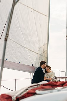 On A Yacht, Sweethearts, Kiss, Lovers, Love, Two