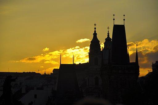 Europe, Prague, Czech Republic, Night View, Castle