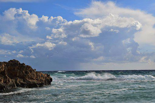 Rocky Coast, Sea, Waves, Sky, Clouds, Nature, Rock