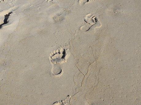Footprints In The Sand, Footprints, Child, Sand, Beach