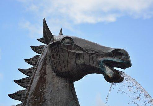 Statue, Statue Horse Metal, Horse, Horse Water