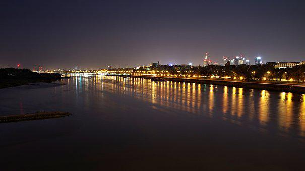 Warsaw, Wisla, Night, Light, City, Water, The Darkness