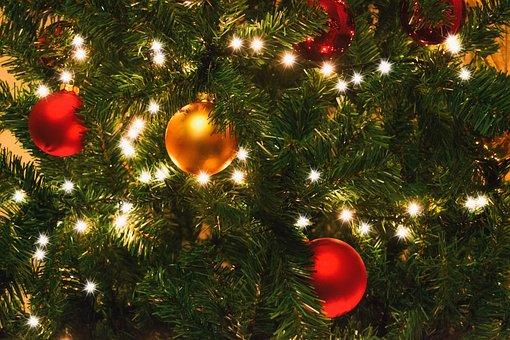 Red, Christmas, Lights, Tree, Bells, Christmas Lights