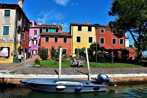 Venice, Burano, Italy, Buildings, Colorful