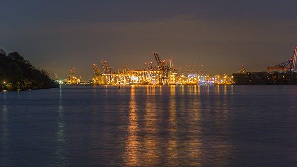 Hamburg, Elbe, Sunset, Water, Abendstimmung, Evening