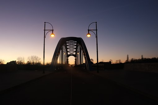 Bridge, Evening Light, City Lights, Abendstimmung