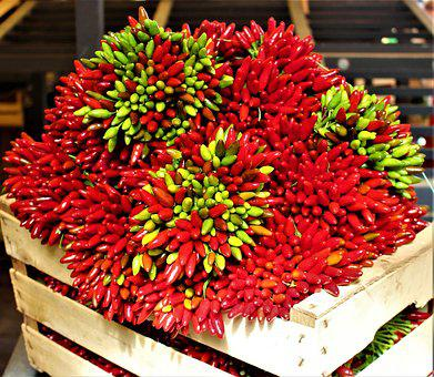 Pepper, Spices, Market, Red, Green, Strong, Mat