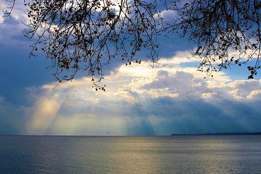 Hope, Dawn, Sunrise, Peace Of Mind, The Rays, Sky, Lake