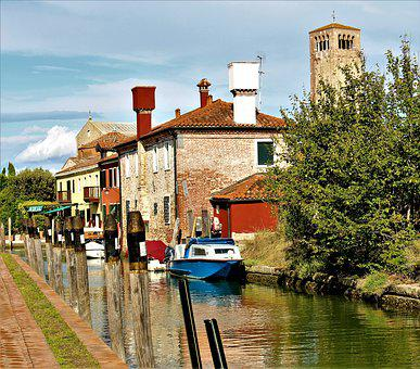Venice, Italy, Torcello, Architecture, Buildings, Water