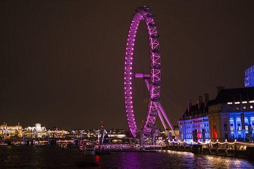London, City, London Eye, Ferris Wheel, Bike Night