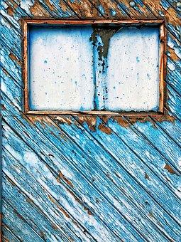 Door, Windows, Tree, Board, Color, Old, Diagonal, Blue