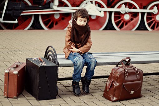 Station, Suitcases, Child, Train, Railway, The Ussr