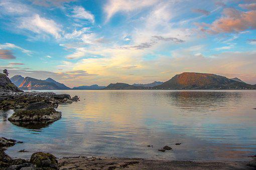 Lofoten, Sea, Sky, Mountains, Norway, Nature, Holiday