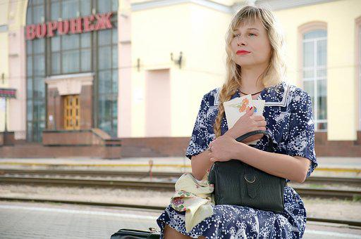 Train, Station, Peron, Woman, The Ussr, Communism