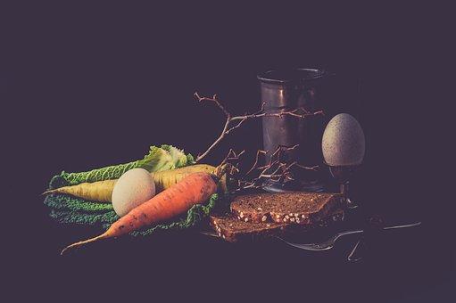 Vegetables, Still Life, Vintage, Old, Color, Egg