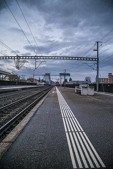 Railway Station, Track, Platform, Railway Rails, Train