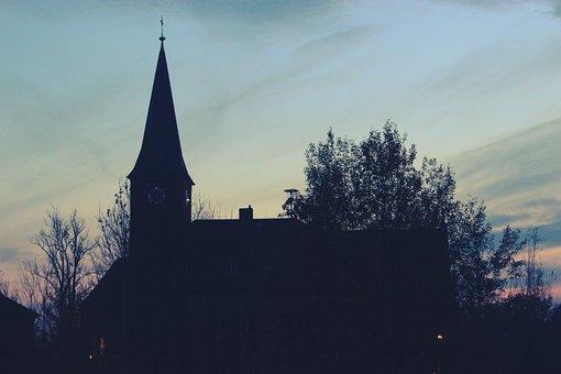 Church, Sunset, Silhouette, Night, Travel, Landmark