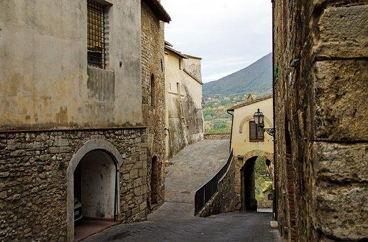 San Gemini, Door, Umbria, Walls, Stones, Old Houses
