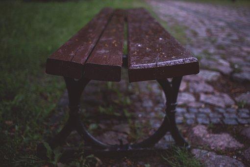 Bench, Brown, Grass, Green, Park, Place, Rain, Rainy