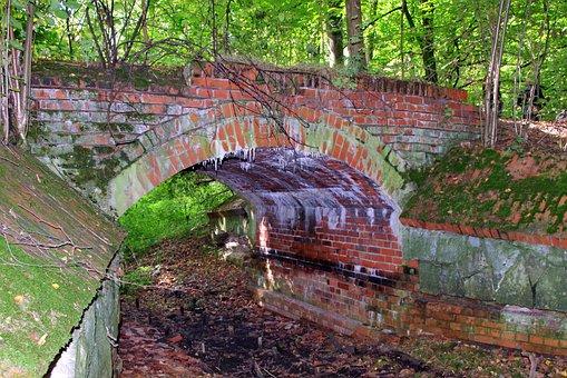 Bridge, Forest, Brick, Old, Ditch, Rotten, Channel