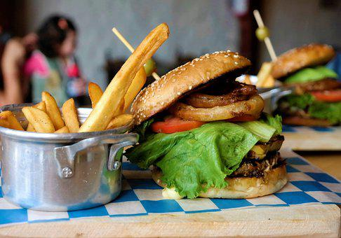 Burger, Gourmet, Terrace, Light, Sun, Relax, Food