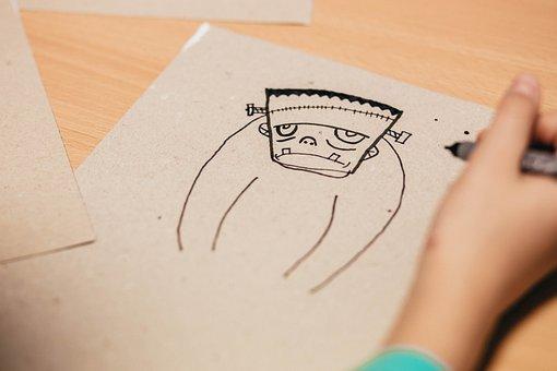 People, Art, Black, Cartboard, Cartoon, Child, Children