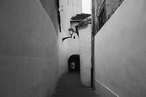 City, Architecture, Alley, Black And White, Building
