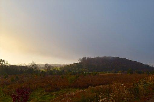 Sunrise, Mountain, Field, Mist, Rural, Landscape