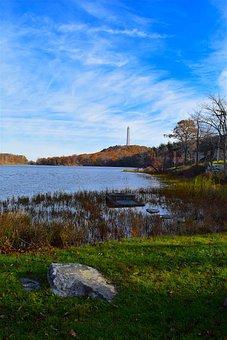 Lake, Shore, Trees, Nature, Grass, Green, Foliage